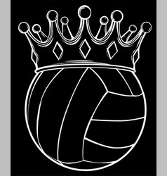 volleyball ball in golden royal crown silhouette vector image