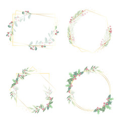 watercolor christmas leaf and red berry wreath vector image