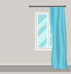 White plastic window with curtains on wall vector