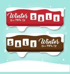 Winter sale banner red and brown image vector
