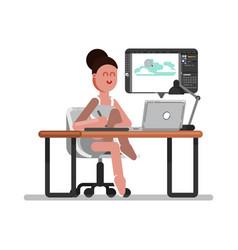 woman freelancer designer vector image