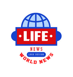 World life news logo social mass media emblem vector
