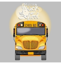 Yellow school bus in front view vector image