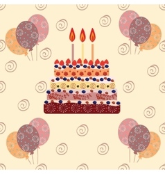 Birthday cake with three candles vector image