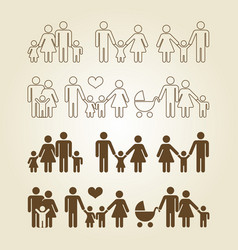 line and outline family icons set vector image