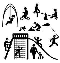 peoples playground icons vector image