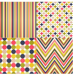 Seamless stripes zig zag and polka dots vector image vector image