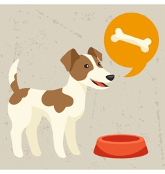 Background with dog says he wants to eat vector image