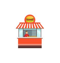flat street food kiosk with hamburger vector image vector image