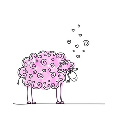 Funny pink sheep sketch for your design vector image