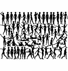 young female silhouettes vector image
