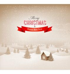 Christmas winter landscape background vector image