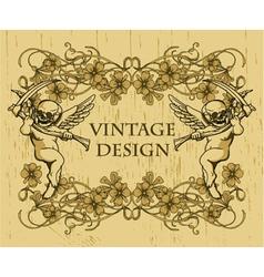 grunge floral frame with angels vector image