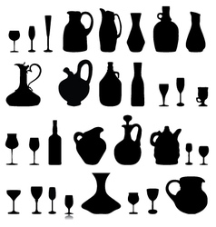 pitchers glasses and bottles vector image vector image