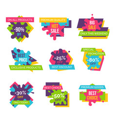 Set price labels total sale on all products icons vector