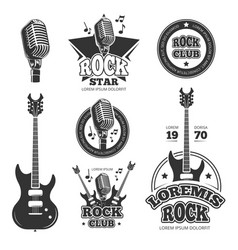 vintage rock and roll music labels emblems vector image vector image