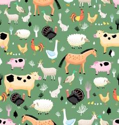 bright pattern of farm animals vector image
