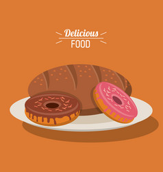 Delicious food bakery dessert donuts and bread vector