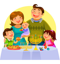 hannukah fam2 small vector image vector image