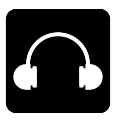 Headphones symbol button vector image vector image