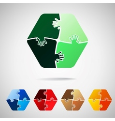 hexagon from puzzle pieces vector image vector image