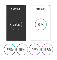 phone screen with loading percentage marks icons vector image