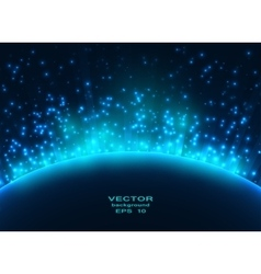 Space planet in the rays of light vector image vector image