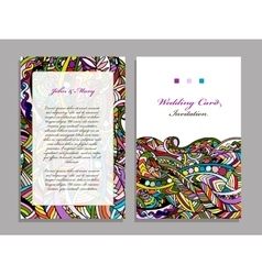 Wedding card template abstract colorful design vector image