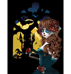 Witch near Gothic Window5 vector image vector image