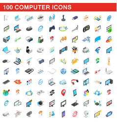 100 computer icons set isometric 3d style vector