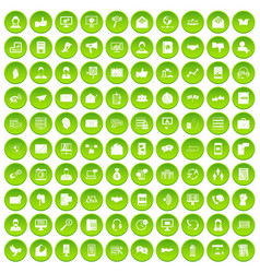 100 interaction icons set green circle vector image vector image