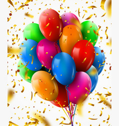3d realistic colorful bunch birthday balloons vector image