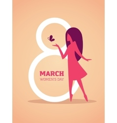 8th march design with girl silhouette vector image
