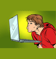 a man kisses the computer screen vector image