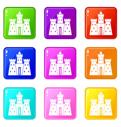ancient castle palace icons 9 set vector image