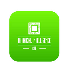 artificial intelligence icon green vector image
