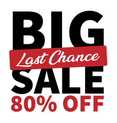 Banner big sale last chance 80 off image vector