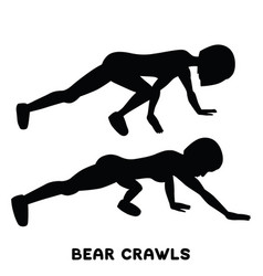 bear crawls sport exersice silhouettes of woman vector image