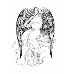 Beautiful angel with wings in white background vector image
