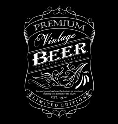 beer label western hand drawn frame blackboard vector image