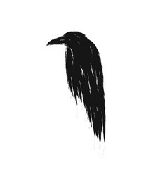 black raven silhouette isolated vector image