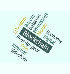 blockchain word cloud concept vector image
