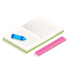 Book and stationery supplies for study and work vector