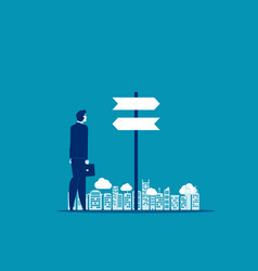 businessman choice with direction concept vector image