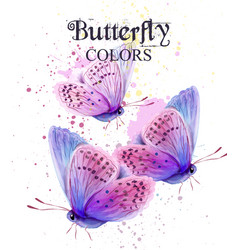 butterflies watercolor card peace day vector image