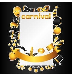 Carnival invitation card with gold icons and vector image