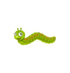 Cartoon caterpillar icon green insect vector