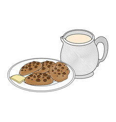 Chocolate chips cookie icon vector