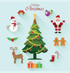 christmas icon sets with christmas santa claus vector image