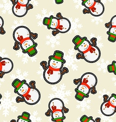 Christmas snowman patch icon pattern background vector